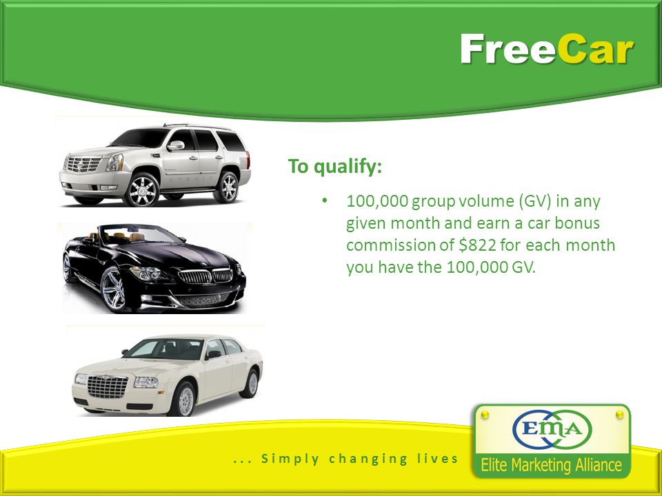 ... S i m p l y c h a n g i n g l i v e s FreeCar To qualify: 100,000 group volume (GV) in any given month and earn a car bonus commission of $822 for