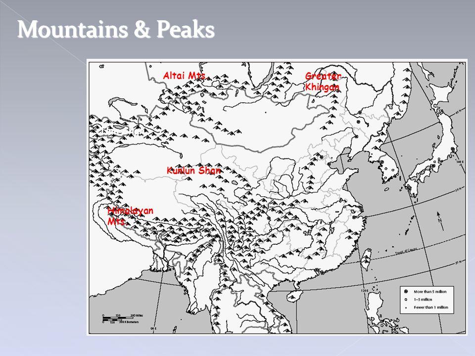 Mountains & Peaks Tian Shan Altai Mts. Greater Khingan Kunlun Shan Himalayan Mts.