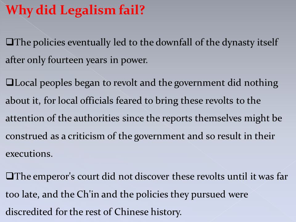 Why did Legalism fail.