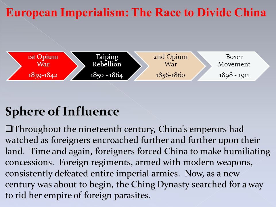 European Imperialism: The Race to Divide China 1st Opium War 1839-1842 Taiping Rebellion 1850 - 1864 2nd Opium War 1856-1860 Boxer Movement 1898 - 191