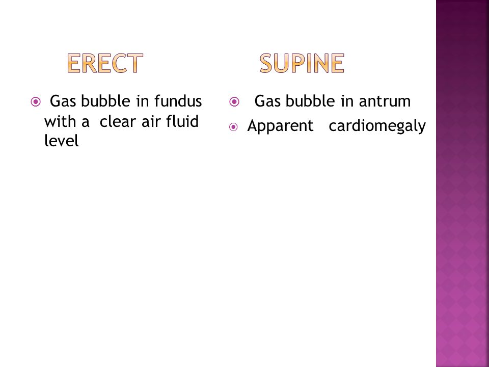  Gas bubble in fundus with a clear air fluid level  Gas bubble in antrum  Apparent cardiomegaly