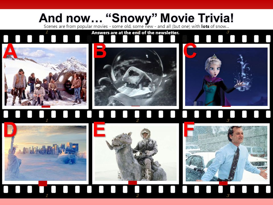 Scenes are from popular movies - some old, some new - and all (but one) with lots of snow… .