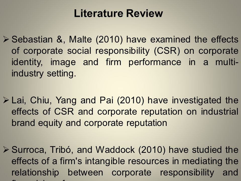 Literature Review  Sebastian &, Malte (2010) have examined the effects of corporate social responsibility (CSR) on corporate identity, image and firm performance in a multi- industry setting.
