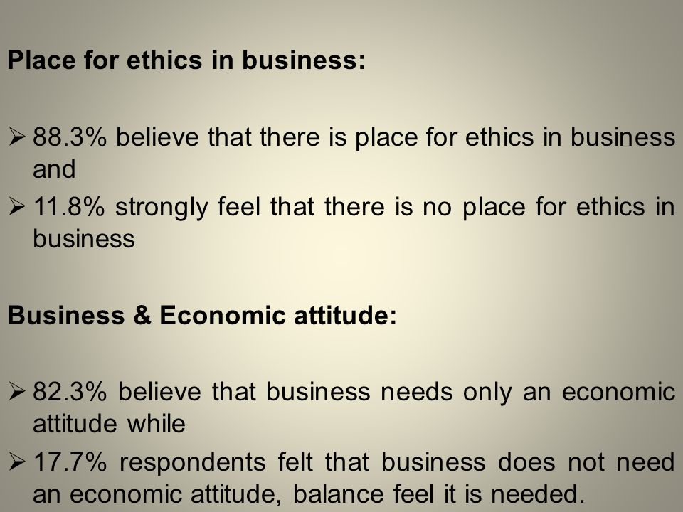 Place for ethics in business:  88.3% believe that there is place for ethics in business and  11.8% strongly feel that there is no place for ethics in business Business & Economic attitude:  82.3% believe that business needs only an economic attitude while  17.7% respondents felt that business does not need an economic attitude, balance feel it is needed.