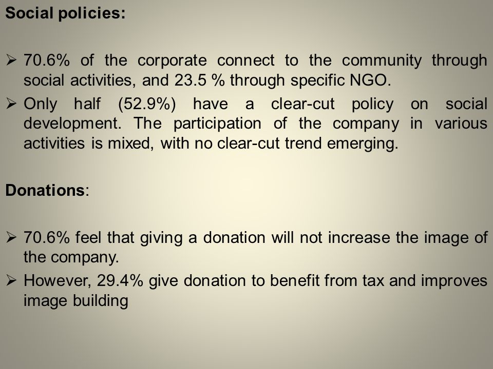 Social policies:  70.6% of the corporate connect to the community through social activities, and 23.5 % through specific NGO.