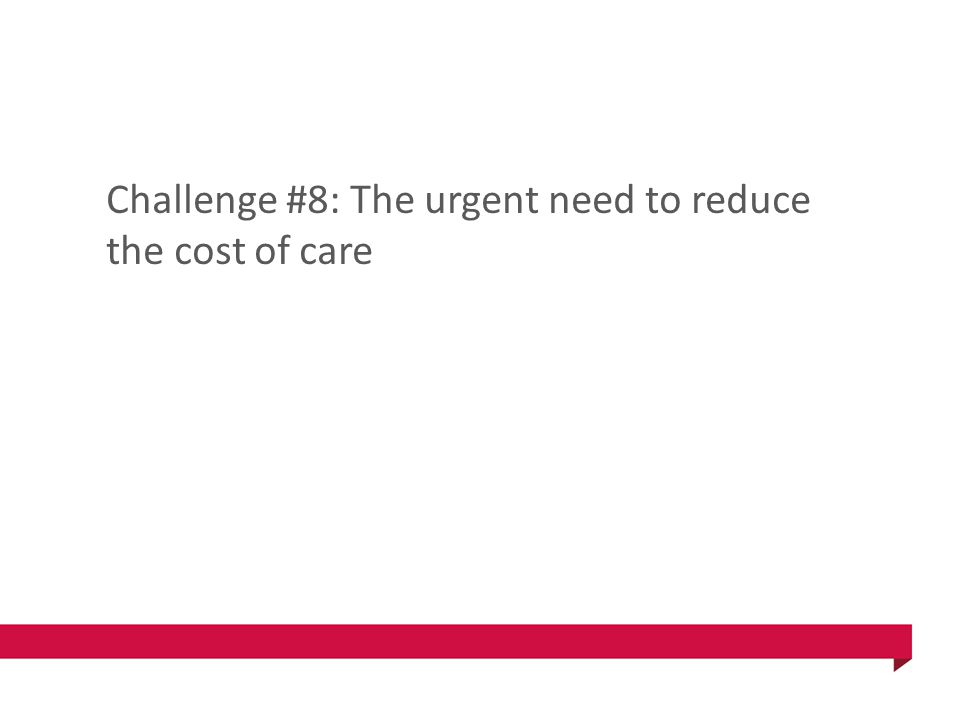 Challenge #8: The urgent need to reduce the cost of care