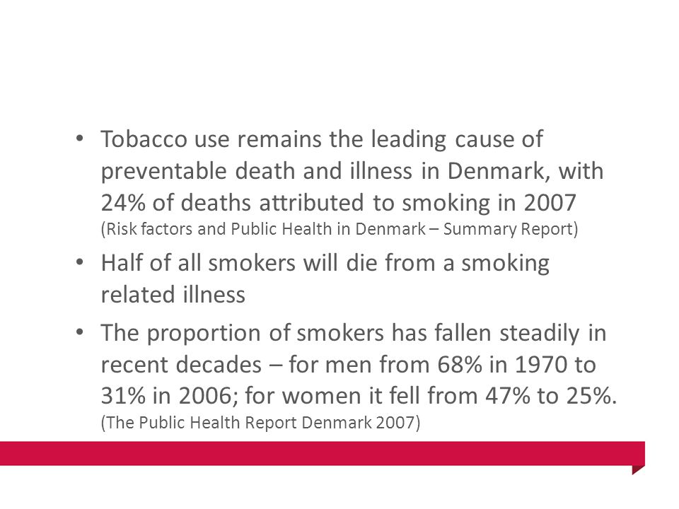 Tobacco use remains the leading cause of preventable death and illness in Denmark, with 24% of deaths attributed to smoking in 2007 (Risk factors and