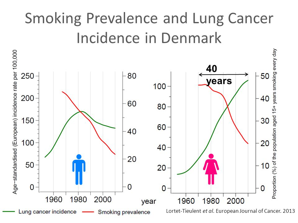 Smoking Prevalence and Lung Cancer Incidence in Denmark Lortet-Tieulent et al. European Journal of Cancer. 2013 40 years