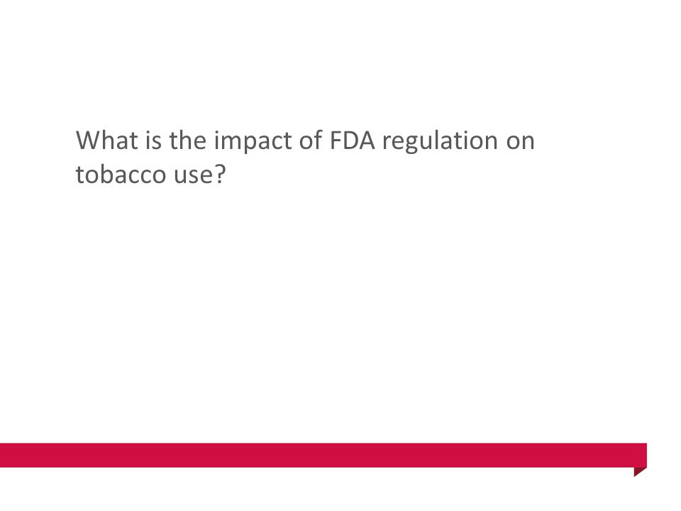 What is the impact of FDA regulation on tobacco use