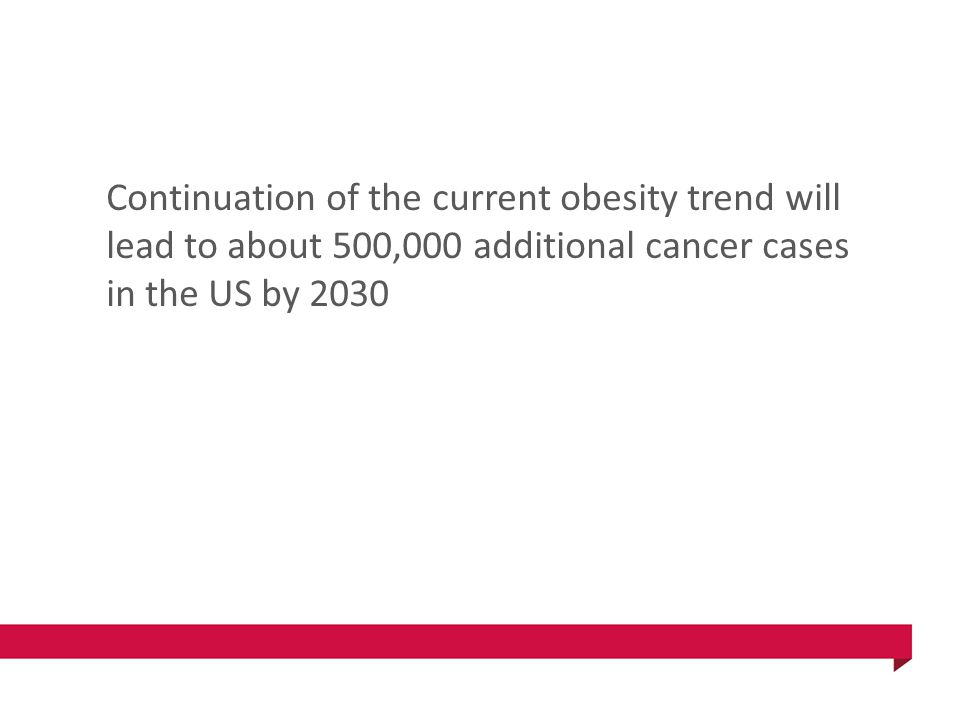 Continuation of the current obesity trend will lead to about 500,000 additional cancer cases in the US by 2030