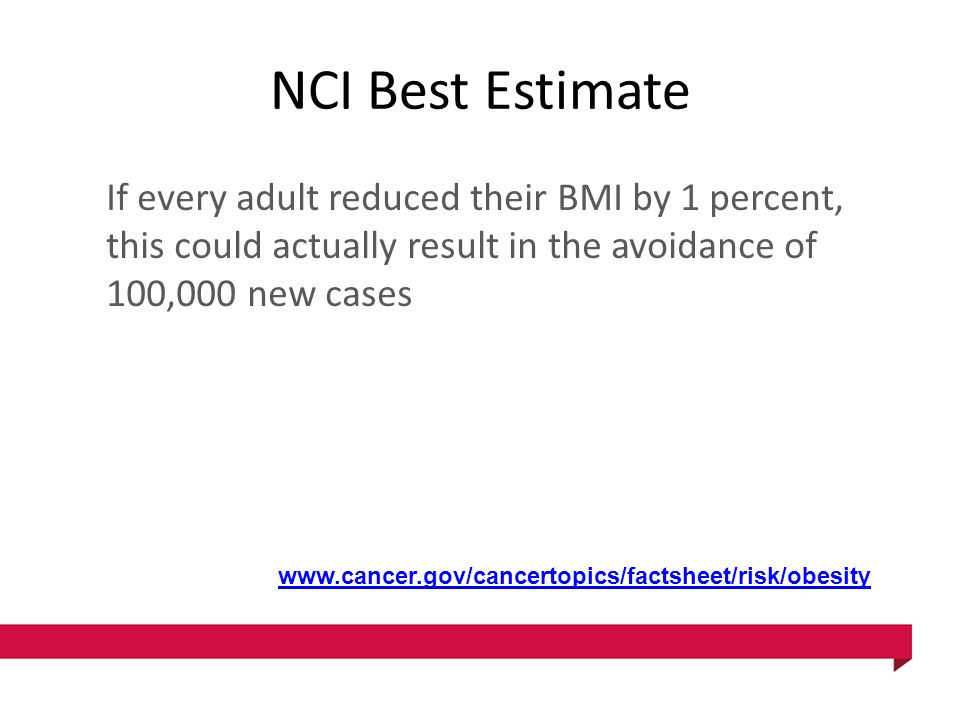 NCI Best Estimate If every adult reduced their BMI by 1 percent, this could actually result in the avoidance of 100,000 new cases www.cancer.gov/cance