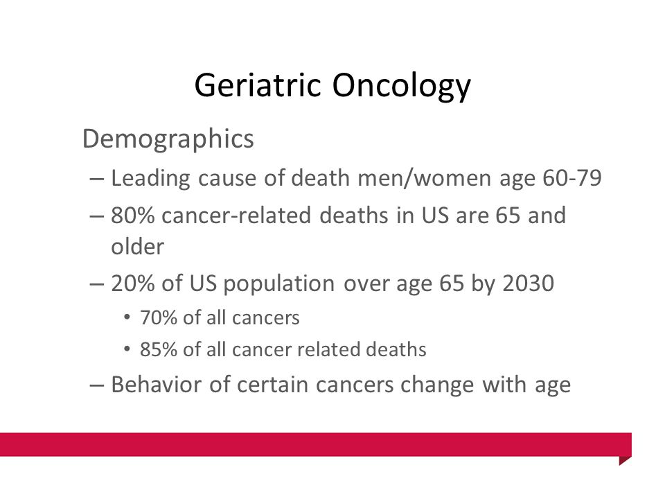 Geriatric Oncology Demographics – Leading cause of death men/women age 60-79 – 80% cancer-related deaths in US are 65 and older – 20% of US population over age 65 by 2030 70% of all cancers 85% of all cancer related deaths – Behavior of certain cancers change with age