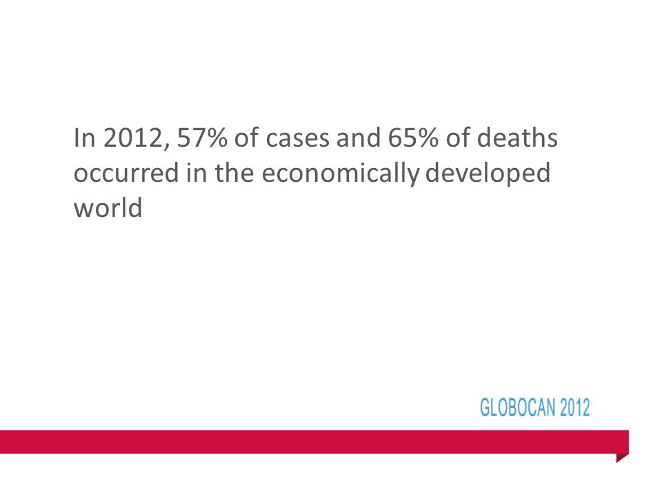 In 2012, 57% of cases and 65% of deaths occurred in the economically developed world