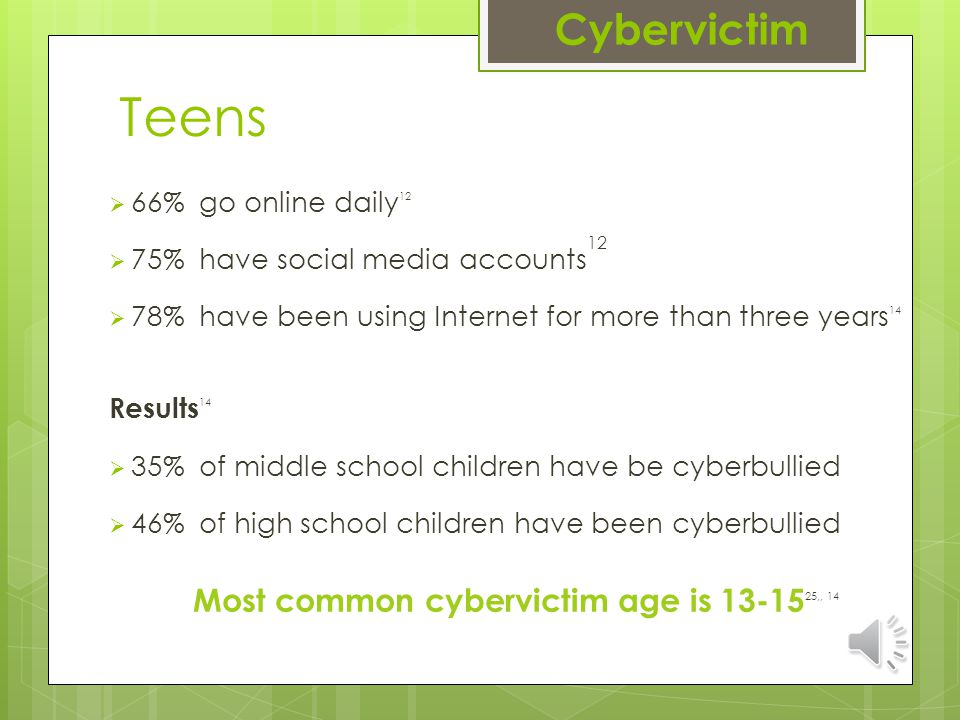 Teens  66% go online daily 12  75% have social media accounts 12  78% have been using Internet for more than three years 14 Results 14  35% of middle school children have be cyberbullied  46% of high school children have been cyberbullied Most common cybervictim age is 13-15 25,, 14 Cybervictim