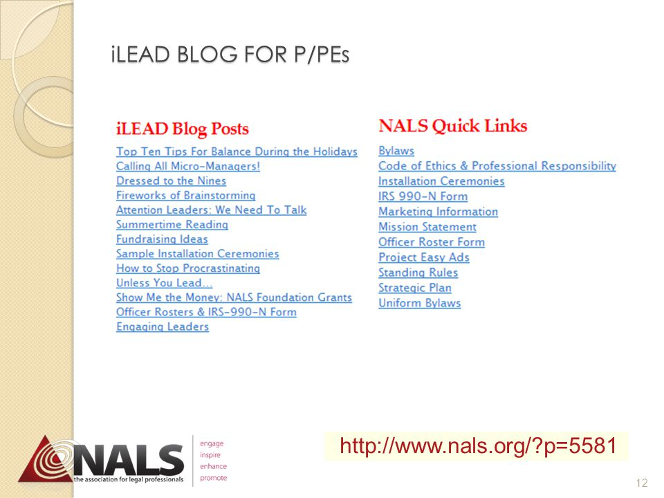 TOP 10 LEADERSHIP TOOLS 4.iLEAD Blog for P/PEs http://www.nals.org/?p=5581 11