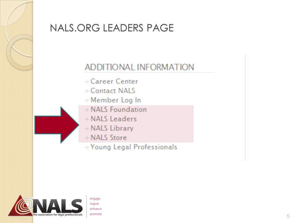 TOP 10 LEADERSHIP TOOLS 1.NALS.org Leaders page Search here … OR BETTER YET … Go straight to it!! 4