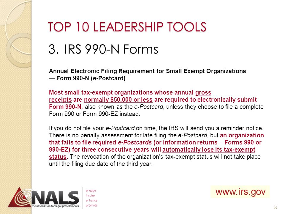 TOP 10 LEADERSHIP TOOLS 2.Officer Rosters Roster Search or visit: www.nals.org/?p=740 7