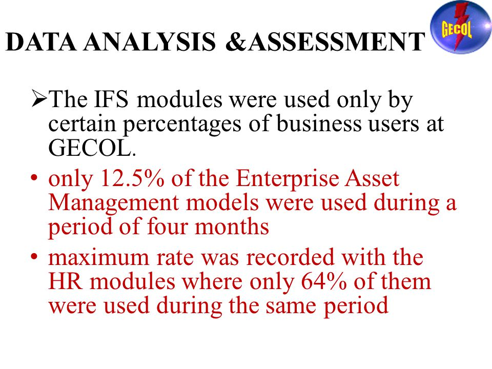 DATA ANALYSIS &ASSESSMENT  The IFS modules were used only by certain percentages of business users at GECOL.