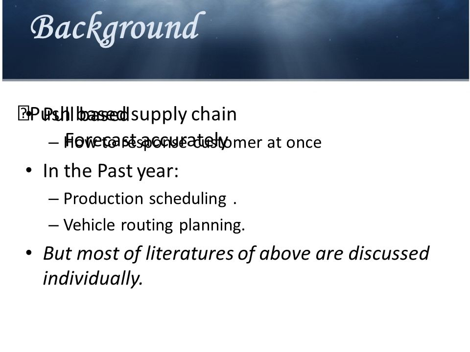 Background IndividualIntegration Advantage1.It can make the best of object of production scheduling.