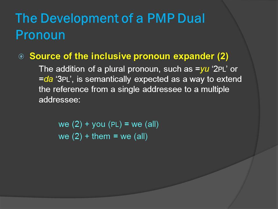 The Development of a PMP Dual Pronoun  Source of the inclusive pronoun expander (2) The addition of a plural pronoun, such as =yu '2 PL ' or =da '3 P