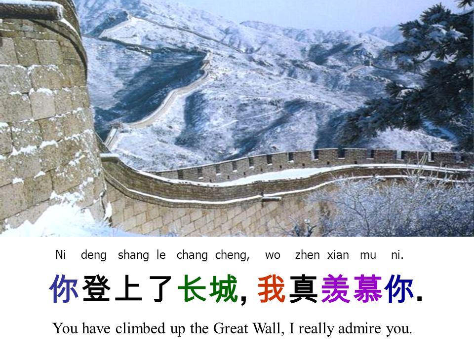 你登上了长城, 我真羡慕你. You have climbed up the Great Wall, I really admire you.