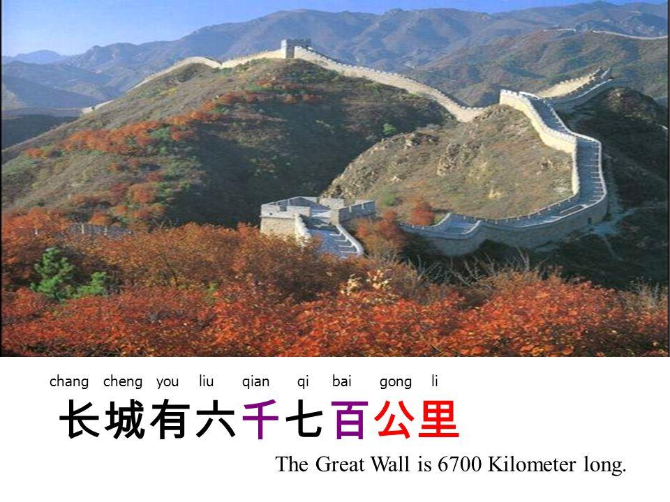长城有六千七百公里 The Great Wall is 6700 Kilometer long. chang cheng you liu qian qi bai gong li