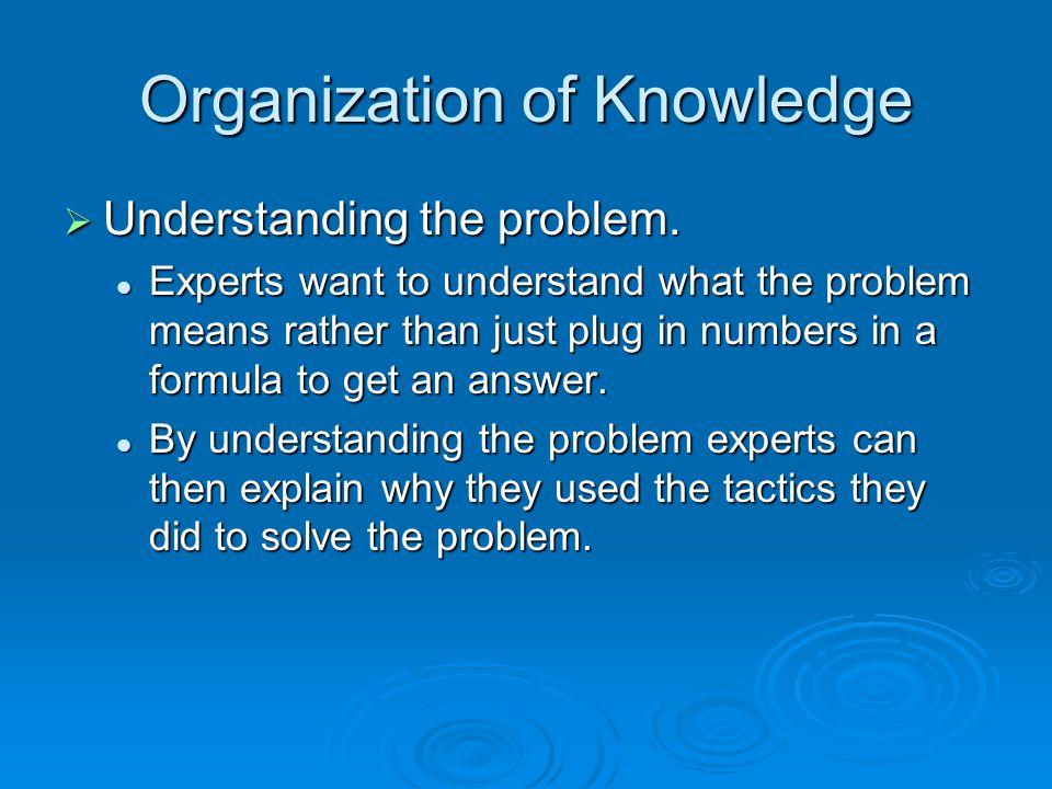 Organization of Knowledge  Understanding the problem.