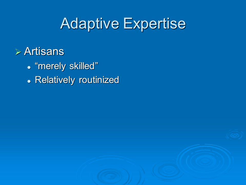 Adaptive Expertise  Artisans merely skilled merely skilled Relatively routinized Relatively routinized