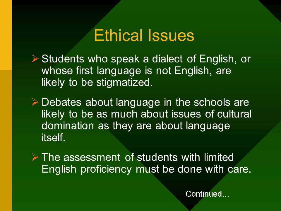 Ethical Issues  Students who speak a dialect of English, or whose first language is not English, are likely to be stigmatized.  Debates about langua