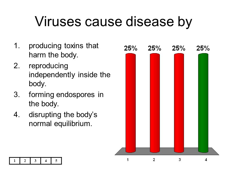 12345 Viruses cause disease by 1.producing toxins that harm the body. 2.reproducing independently inside the body. 3.forming endospores in the body. 4