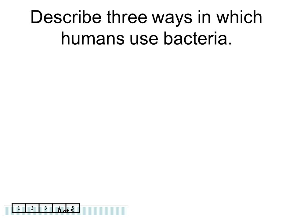 0 of 5 12345 Describe three ways in which humans use bacteria.