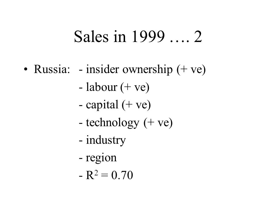 Sales in 1999 ….