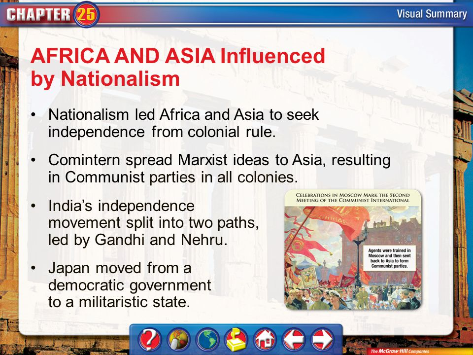 VS 2 AFRICA AND ASIA Influenced by Nationalism Nationalism led Africa and Asia to seek independence from colonial rule. Comintern spread Marxist ideas