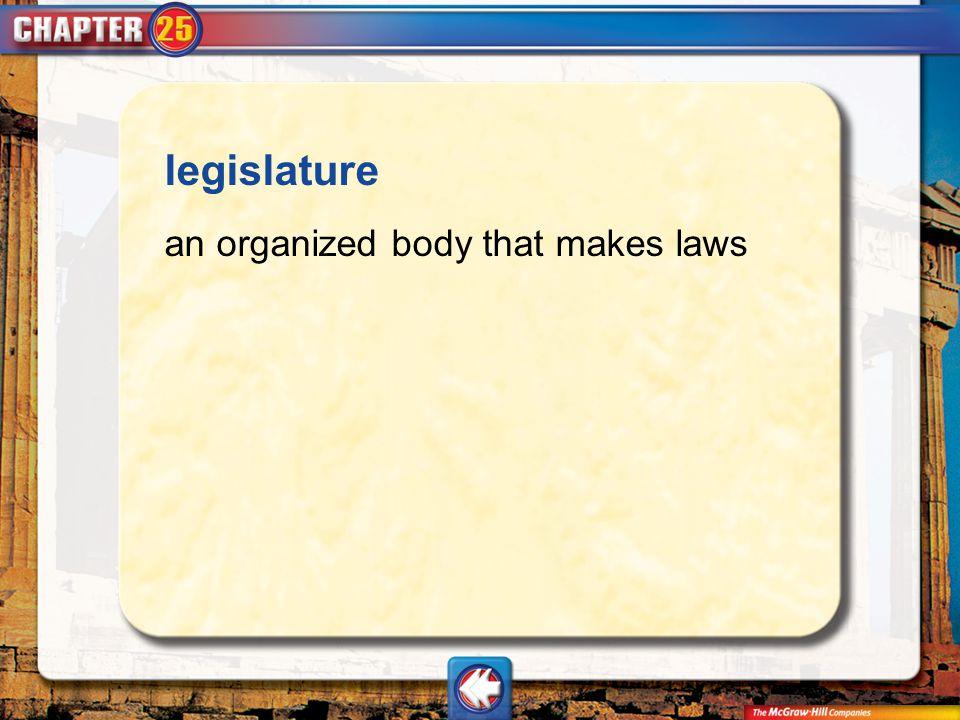 Vocab3 legislature an organized body that makes laws