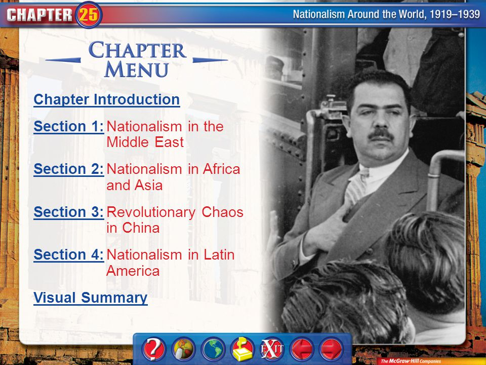 Chapter Menu Chapter Introduction Section 1:Section 1:Nationalism in the Middle East Section 2:Section 2:Nationalism in Africa and Asia Section 3:Sect