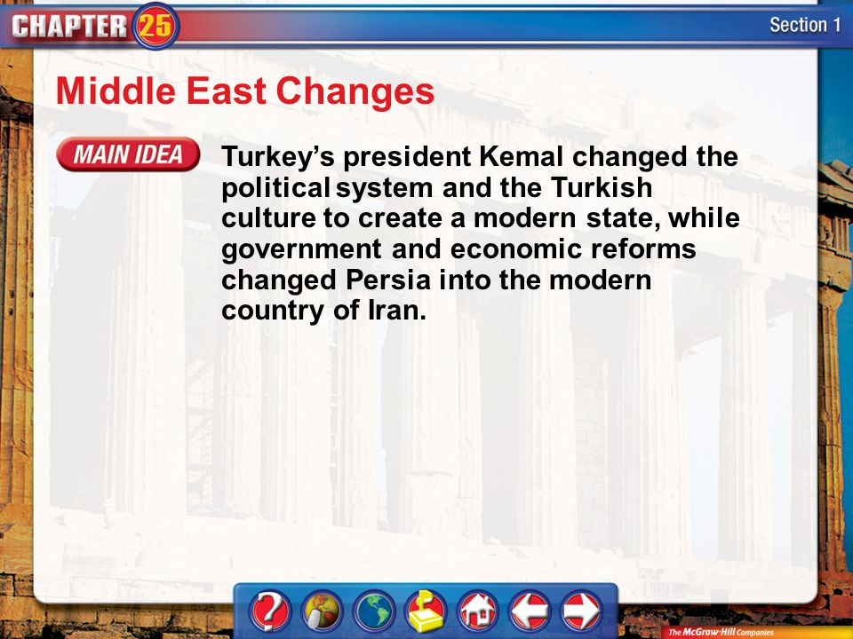 Section 1 Middle East Changes Turkey's president Kemal changed the political system and the Turkish culture to create a modern state, while government