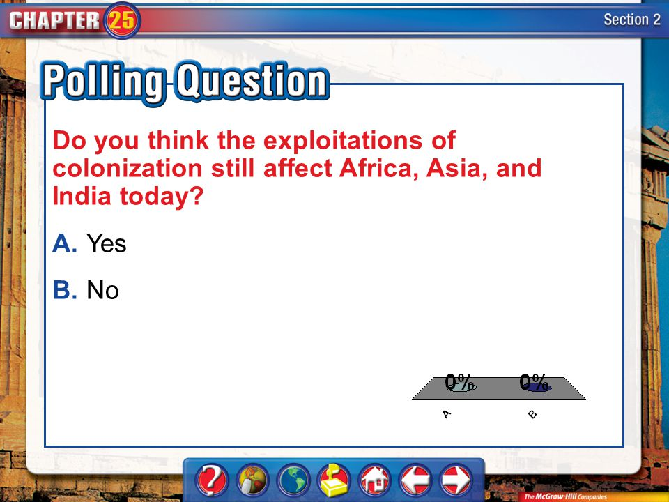 A.A B.B Section 2-Polling Question Do you think the exploitations of colonization still affect Africa, Asia, and India today? A.Yes B.No