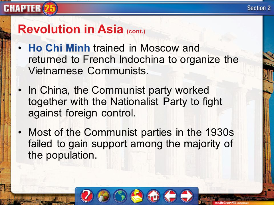 Section 2 Ho Chi Minh trained in Moscow and returned to French Indochina to organize the Vietnamese Communists. In China, the Communist party worked t