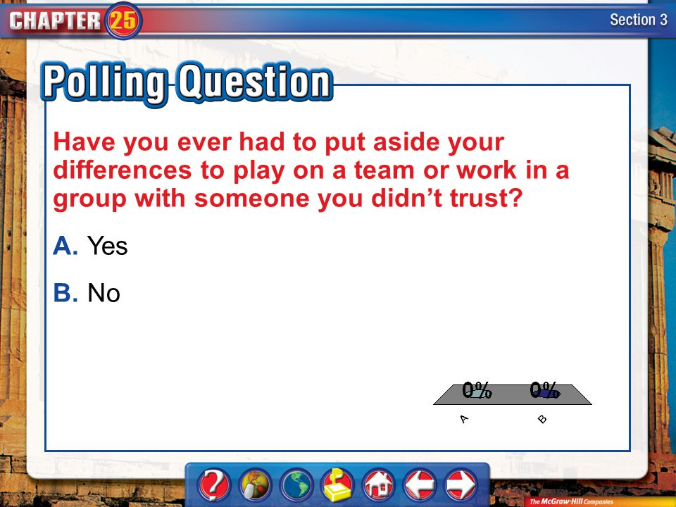 A.A B.B Section 3-Polling Question Have you ever had to put aside your differences to play on a team or work in a group with someone you didn't trust?