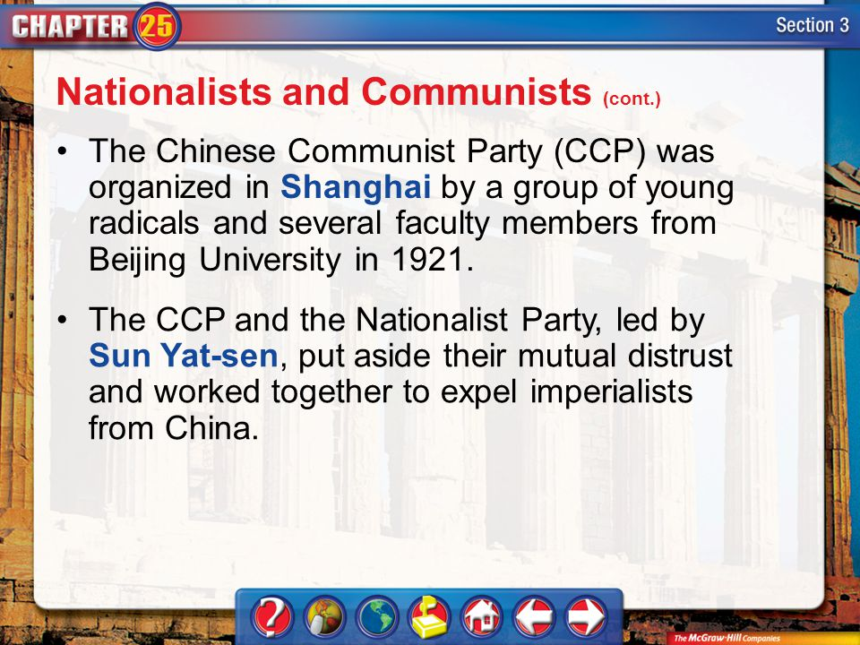 Section 3 The Chinese Communist Party (CCP) was organized in Shanghai by a group of young radicals and several faculty members from Beijing University