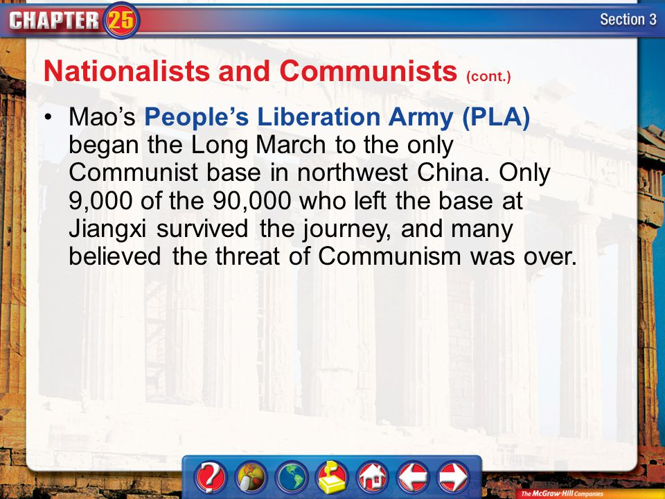 Section 3 Mao's People's Liberation Army (PLA) began the Long March to the only Communist base in northwest China. Only 9,000 of the 90,000 who left t