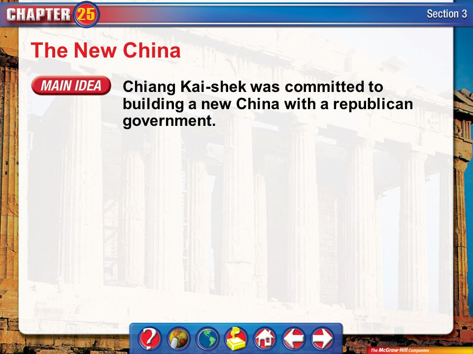 Section 3 The New China Chiang Kai-shek was committed to building a new China with a republican government.