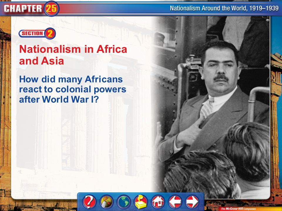 Chapter Intro 2 Nationalism in Africa and Asia How did many Africans react to colonial powers after World War I?