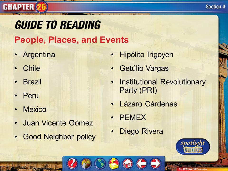 Section 4-Key Terms People, Places, and Events Argentina Chile Brazil Peru Mexico Juan Vicente Gómez Good Neighbor policy Hipólito Irigoyen Getúlio Va