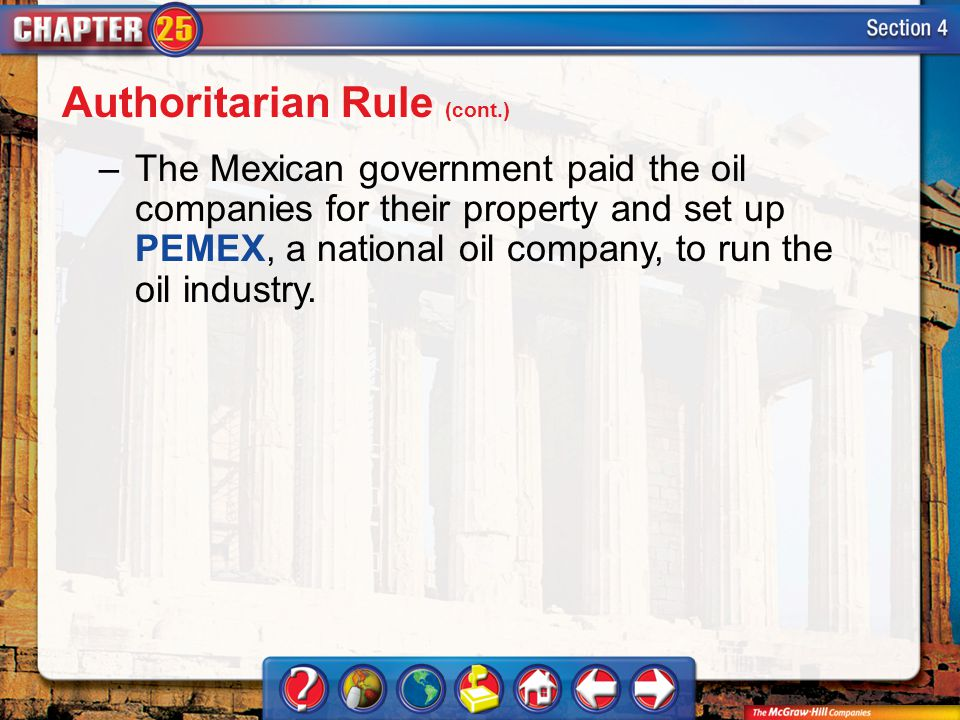 Section 4 –The Mexican government paid the oil companies for their property and set up PEMEX, a national oil company, to run the oil industry. Authori