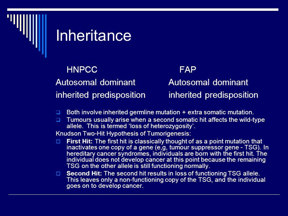 Inheritance HNPCC Autosomal dominant inherited predisposition FAP Autosomal dominant inherited predisposition  Both involve inherited germline mutati