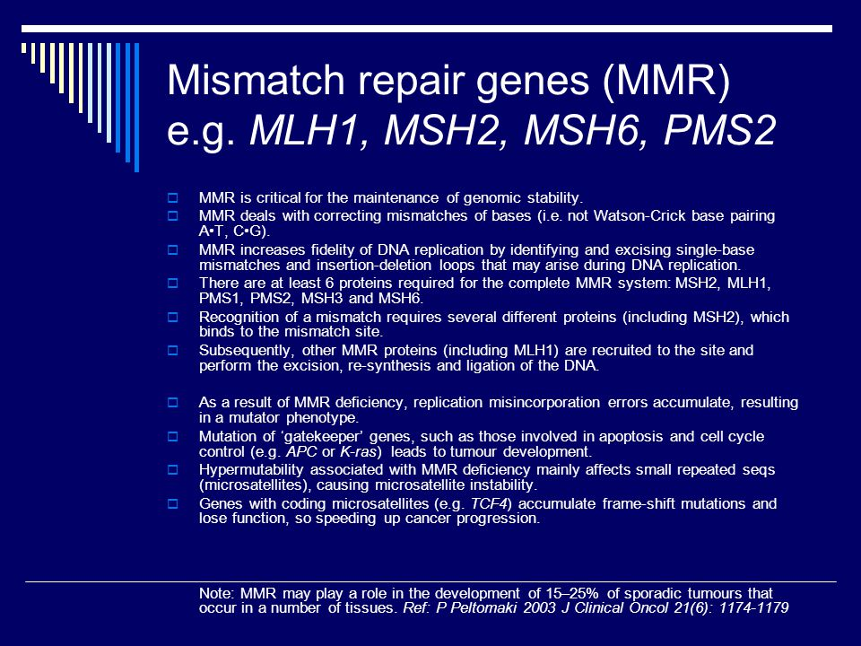Mismatch repair genes (MMR) e.g. MLH1, MSH2, MSH6, PMS2  MMR is critical for the maintenance of genomic stability.  MMR deals with correcting mismat