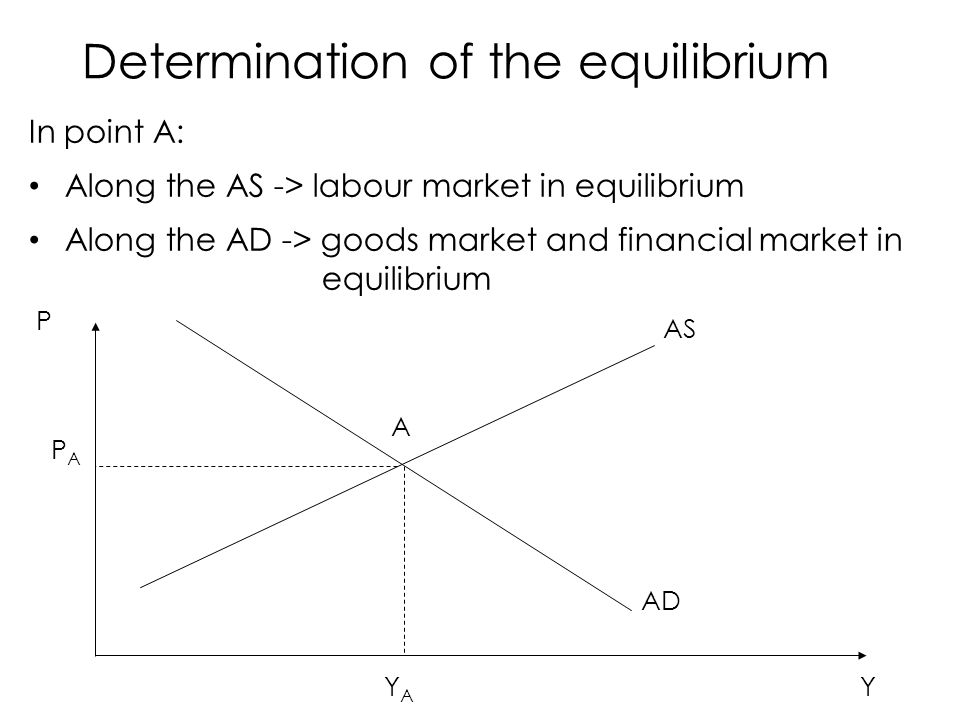 In point A: Along the AS -> labour market in equilibrium Along the AD -> goods market and financial market in equilibrium P Y AS AD A PAPA YAYA Determination of the equilibrium