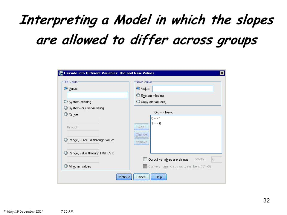32 Interpreting a Model in which the slopes are allowed to differ across groups Friday, 19 December 20147:16 AM