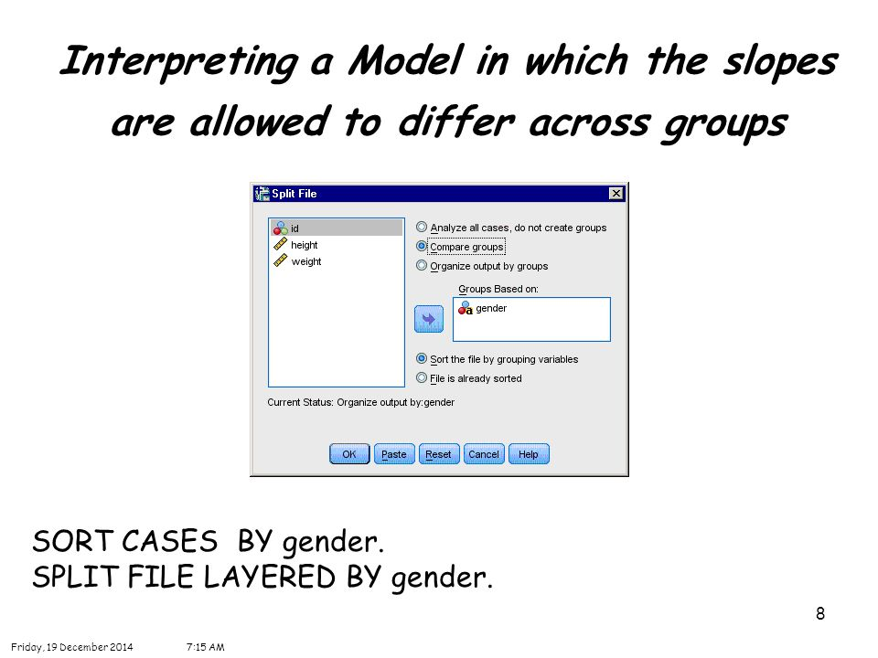 8 Interpreting a Model in which the slopes are allowed to differ across groups SORT CASES BY gender.